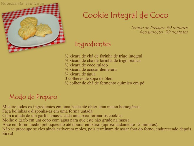 Cookie Integral de Coco