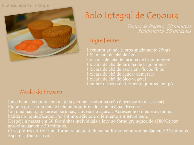Bolo Integral de Cenoura